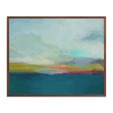 """Morning Walk II, 40""""x30"""", White Wood Frame"""