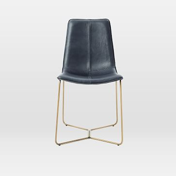 Slope Dining Chair, Vegan Leather, Snow, Antique Brass