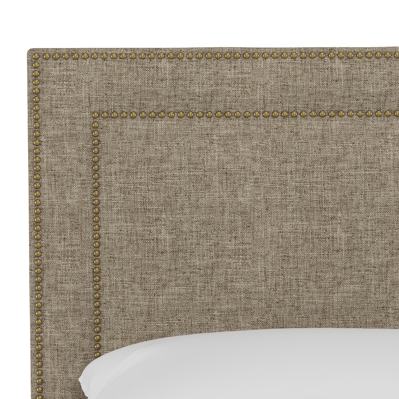 Williams Headboard, California King, Linen, Brass Nailheads