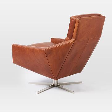 Austin Swivel Chair, Poly, Vegan Leather, Saddle, Antique Bronze