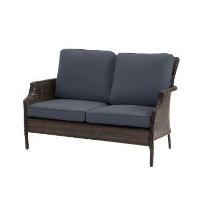 Hampton Bay Grayson Brown Wicker Outdoor Patio Loveseat with CushionGuard Sky Blue Cushions
