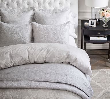 Monique Lhuillier Blossom Embroidered Cotton Quilt, King/Cal King, Gray