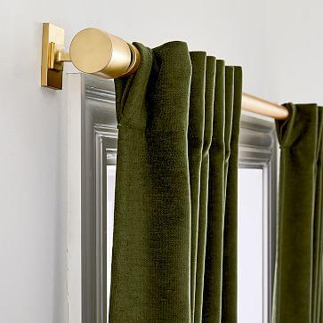 """Textured Upholstery Velvet Curtain, Olive, 48""""x96"""", Set of 2"""