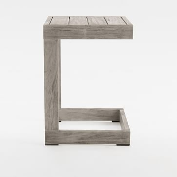 Portside Outdoor C-Shaped Side Table, Driftwood