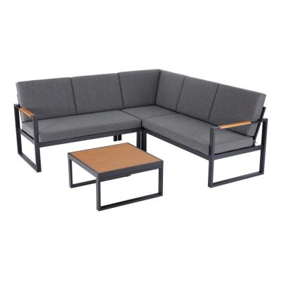 Hampton Bay Pinnacle 4-Piece Metal Outdoor Sectional Set with Graphite Cushions
