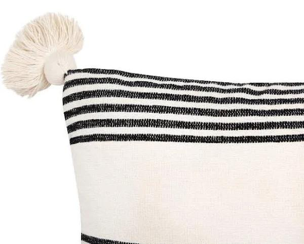 """Perry Striped Pillow, Black, 20"""" x 20"""""""