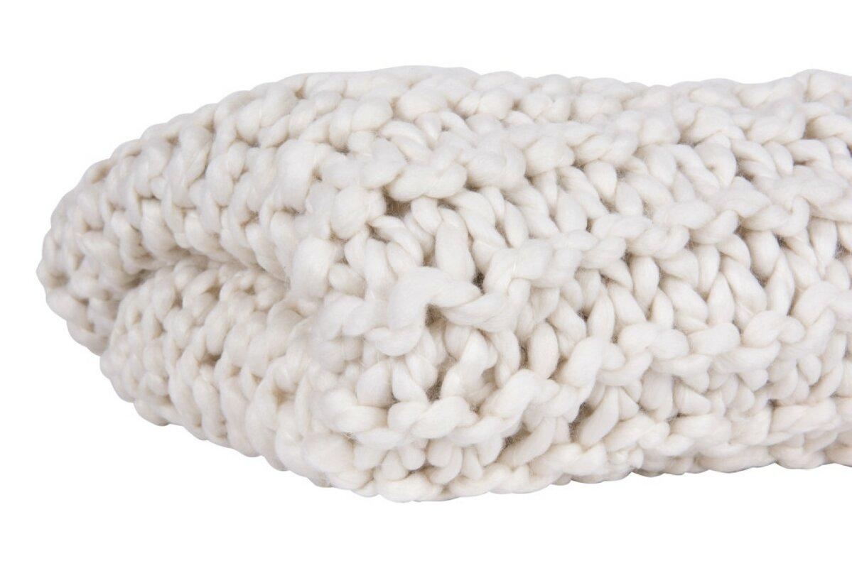 Acrylic Chunky Knit Throw, Cream