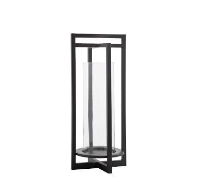 "Brooks Cross Bar Steel & Glass Lantern, Black, Small - 20.75"""