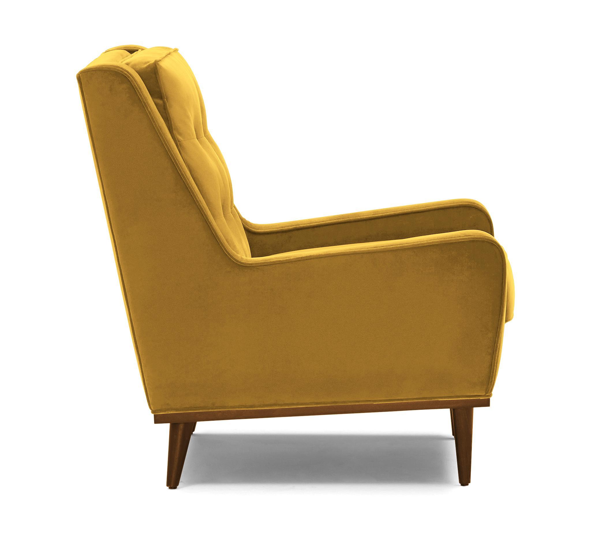 Yellow Brice Mid Century Modern Chair - Bentley Daisey - Mocha