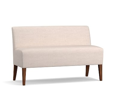 Modular Upholstered Banquette, Tuscan Chestnut Leg, Basketweave Slub Ivory