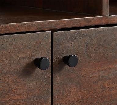 Bradley Wood Bookcase with Doors, Dark Umber