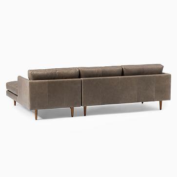 Haven Loft Set 02: Right Arm Sofa, Left Arm Chaise, Trillium, Sauvage Leather, Chalk, Pecan
