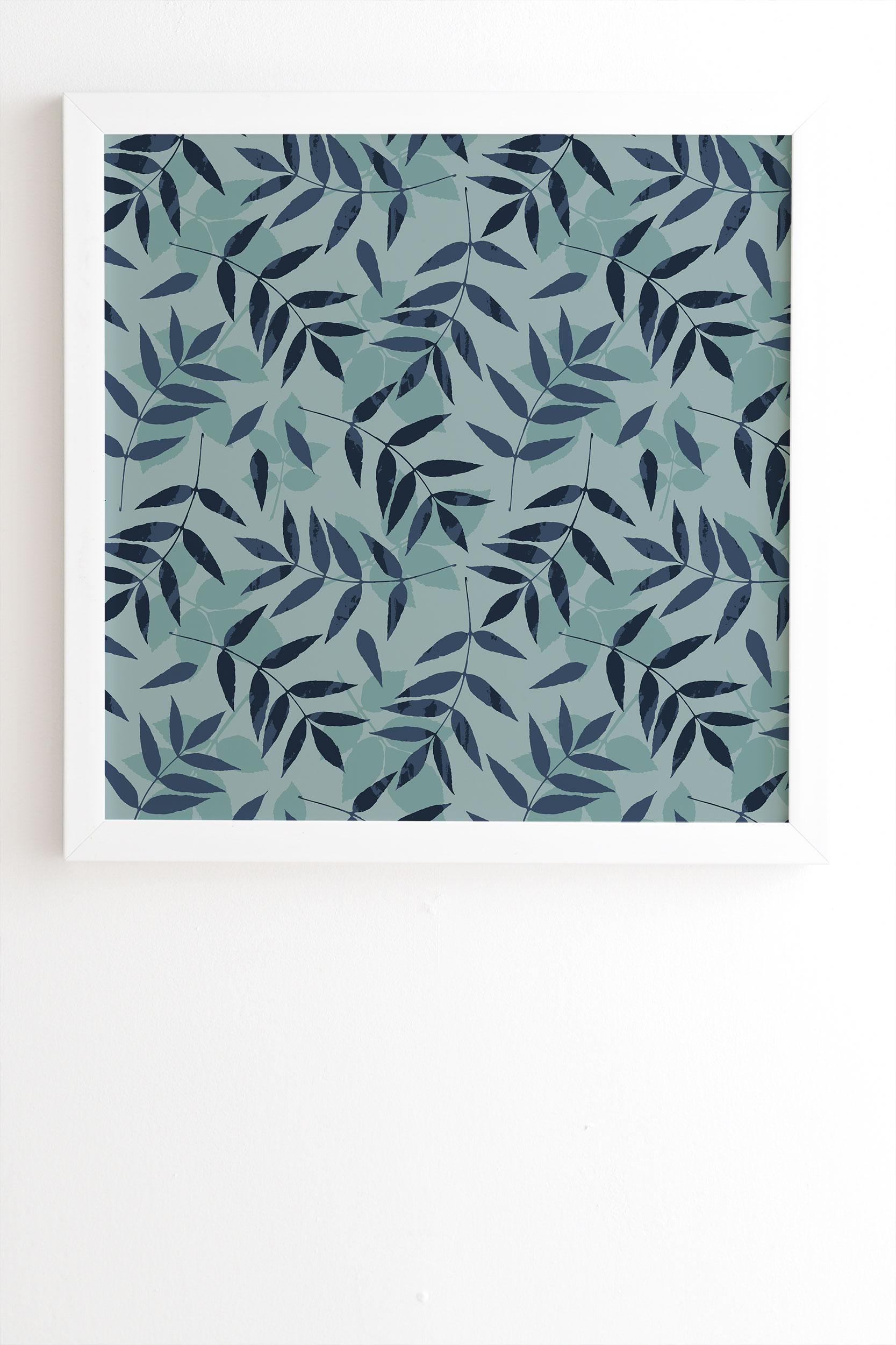 "Leaves Scattered 1 by Mareike Boehmer - Framed Wall Art Basic White 8"" x 9.5"""