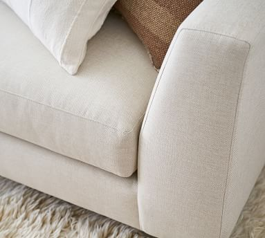 "Ansel Upholstered Sofa 85"", Polyester Wrapped Cushions, Sunbrella(R) Performance Slub Tweed Pebble"