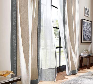 "Emery Framed Border Linen Curtain, 50 x 108"", Oatmeal/Ivory"