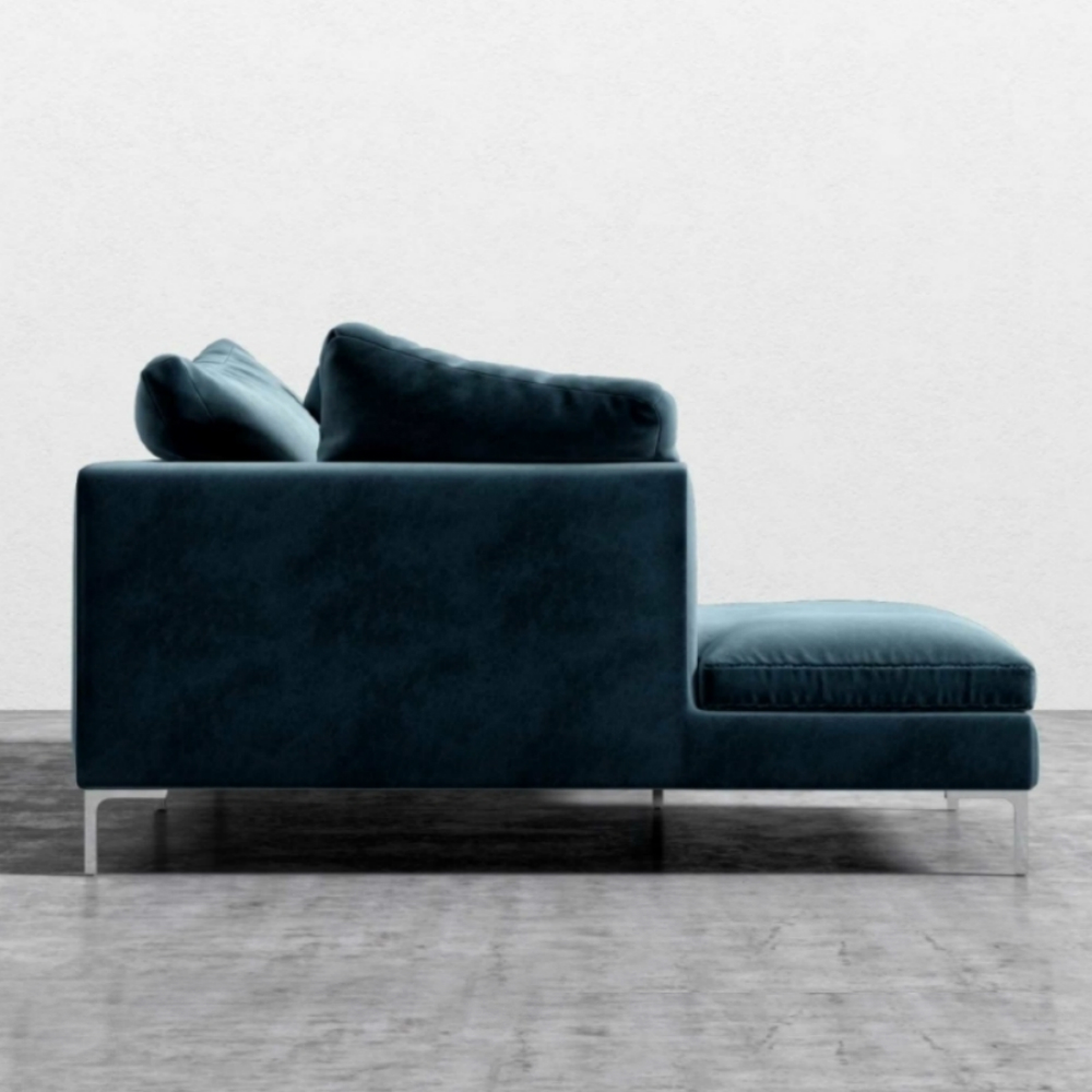 Rove Concepts Hugo Modern Classic Solstice Blue Velvet Sectional Sofa