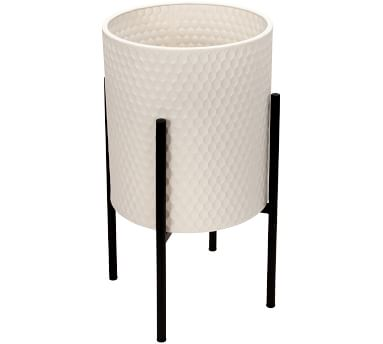 Bella White Patterned Raised Planters with Black Stand, Set of 2