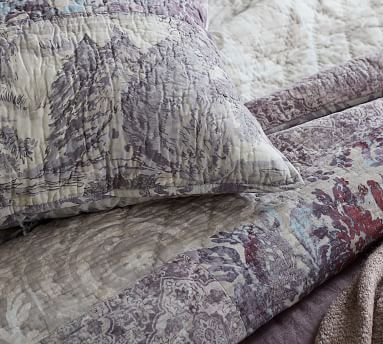 Gray Kali Handcrafted Patchwork Cotton Quilted Shams, Euro