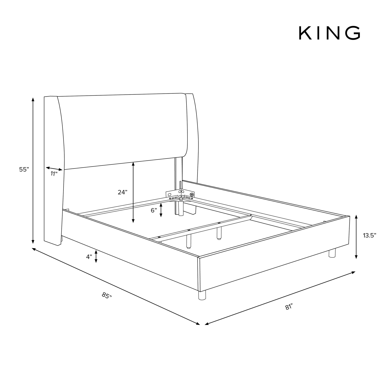 Bannock Wingback Bed, King, Caviar