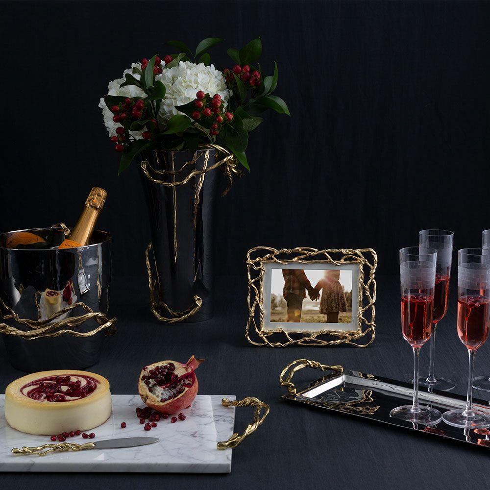 Michael Aram Wisteria Gold Modern Classic 4x6 / 5x7 Gold Metal Photo Frame