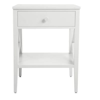 StyleWell Oakley Rectangular White Wood 1 Drawer End Table with X Side Detail (18 in. W x 24 in. H)