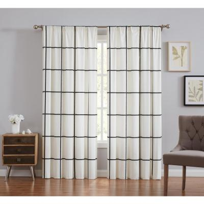Truly Soft Kurt Windowpane 50 in. W x 84 in. L Light Filtering Window Curtain Pair in Ivory and Black