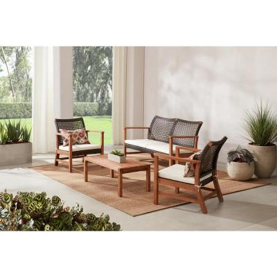 Hampton Bay Clover Cay 4-Piece Wicker Outdoor Patio Conversation Seating Set With Off-White Cushions