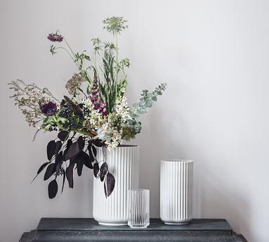 Lyngby White Porcelain Vases, XL