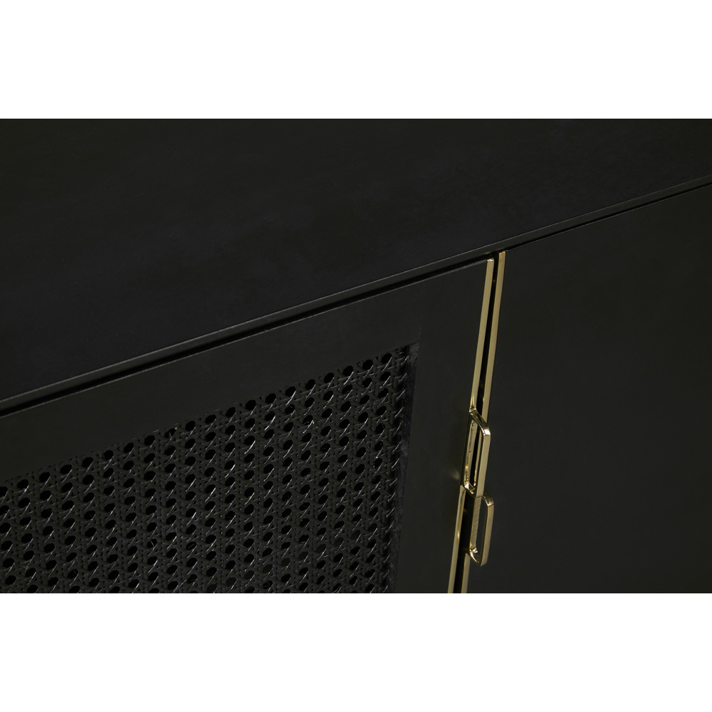 Eleanor Modern Classic Charcoal Hardwood Cane Mesh Door Media Cabinet