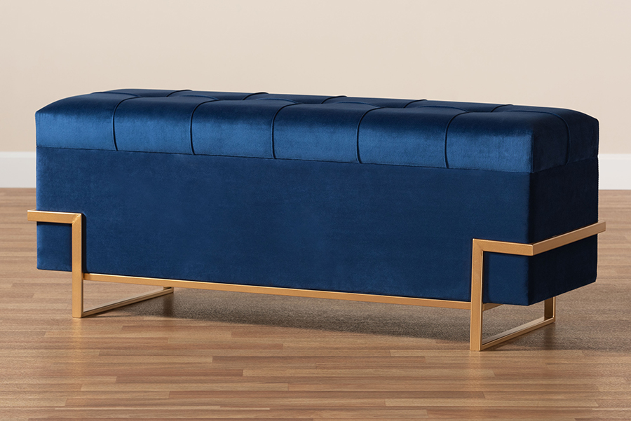 Parker Glam and Luxe Navy Blue Velvet Upholstered and Gold Metal Finished Storage Ottoman