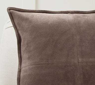 """Pieced Suede Pillow Cover, 20 x 20"""", Stone"""