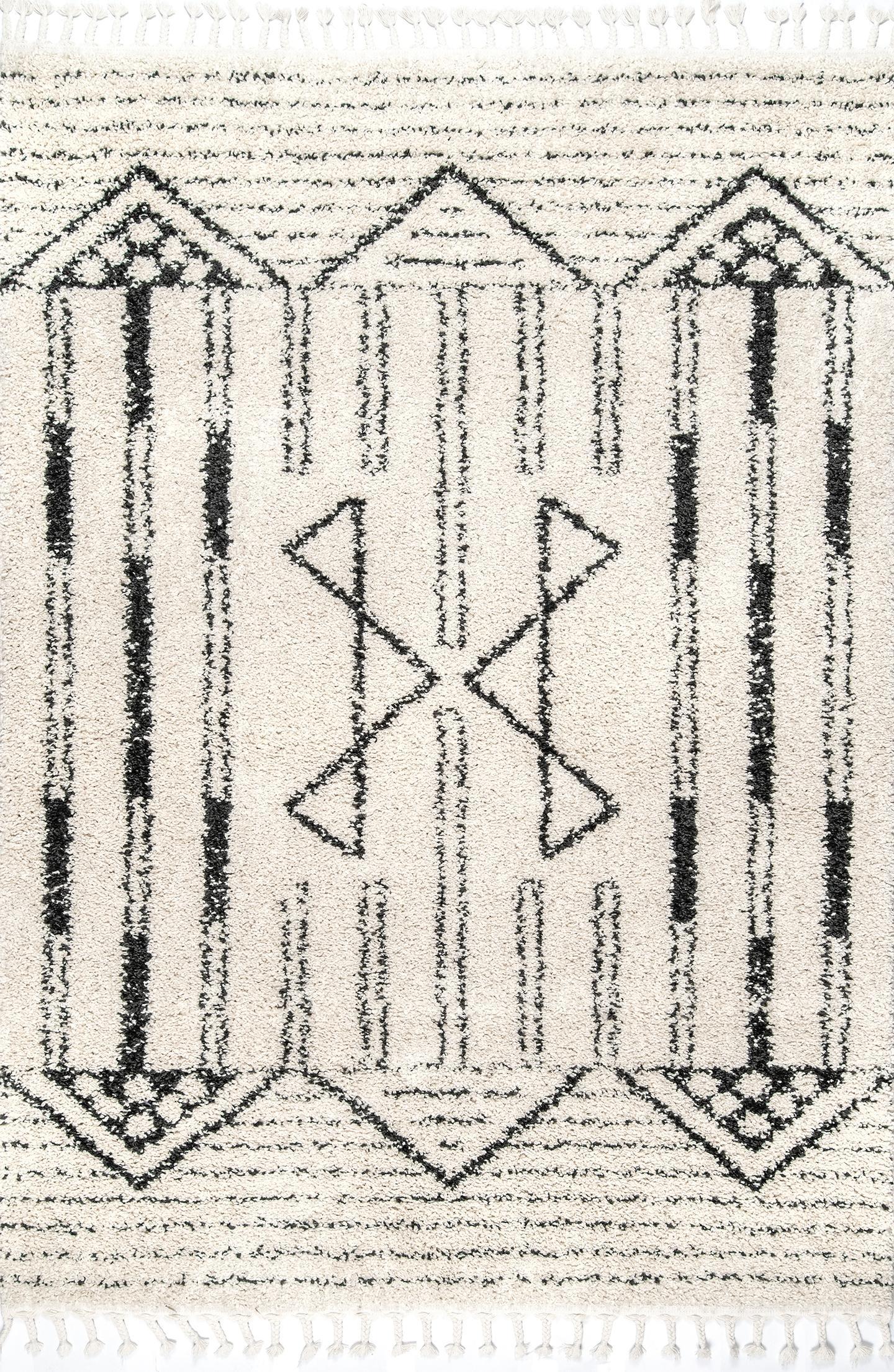 Janna Geometric Striped Tassel Rug Area Rug