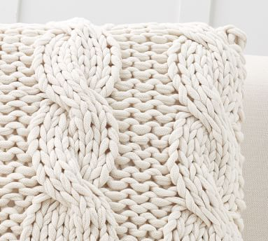 """Colossal Handknit Pillow Cover, 24"""", Putty"""