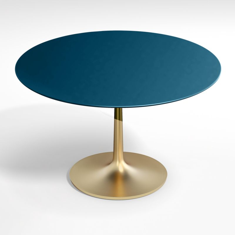 "Nero 48"" Blue Lacquer Dining Table with Brass Base"