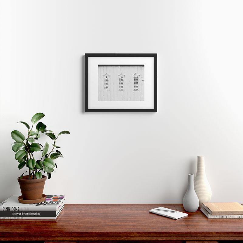 "Rustic White Barn by Ann Hudec, Modern Framed Art Print, Black, 16"" x 20"""