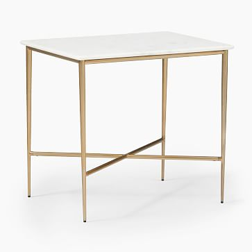 Neve Square Side Table, White Marble