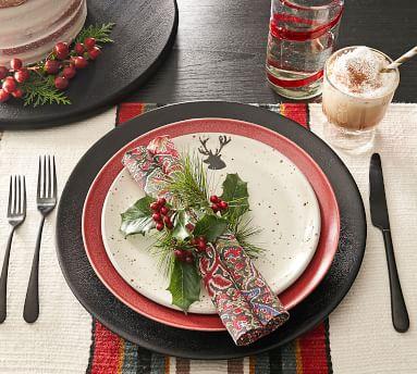 Rustic Reindeer Terracotta Salad Plates, Set of 4