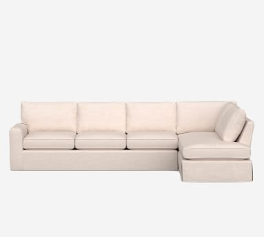 Pearce Square Arm Slipcovered Left Sofa Return Bumper Sectional, Down Blend Wrapped Cushions, Performance Everydaylinen(TM) by Crypton(R) Home Ivory
