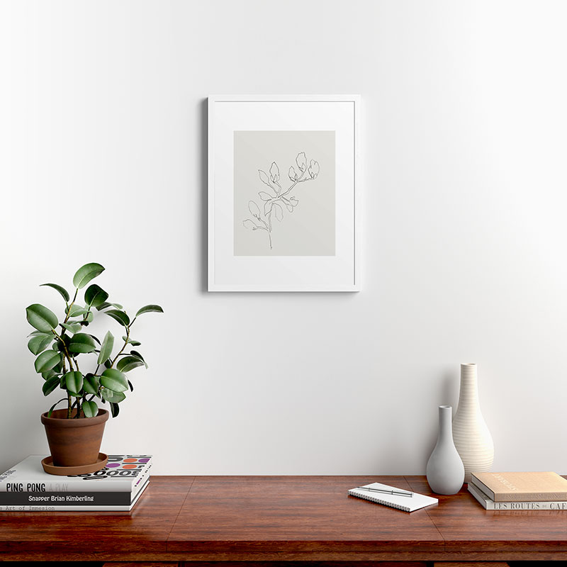 "Floral Study No 3 by Megan Galante, Modern Framed Art Print, White, 18"" x 24"""