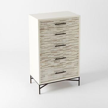 Wood Tiled 5-Drawer Dresser, White
