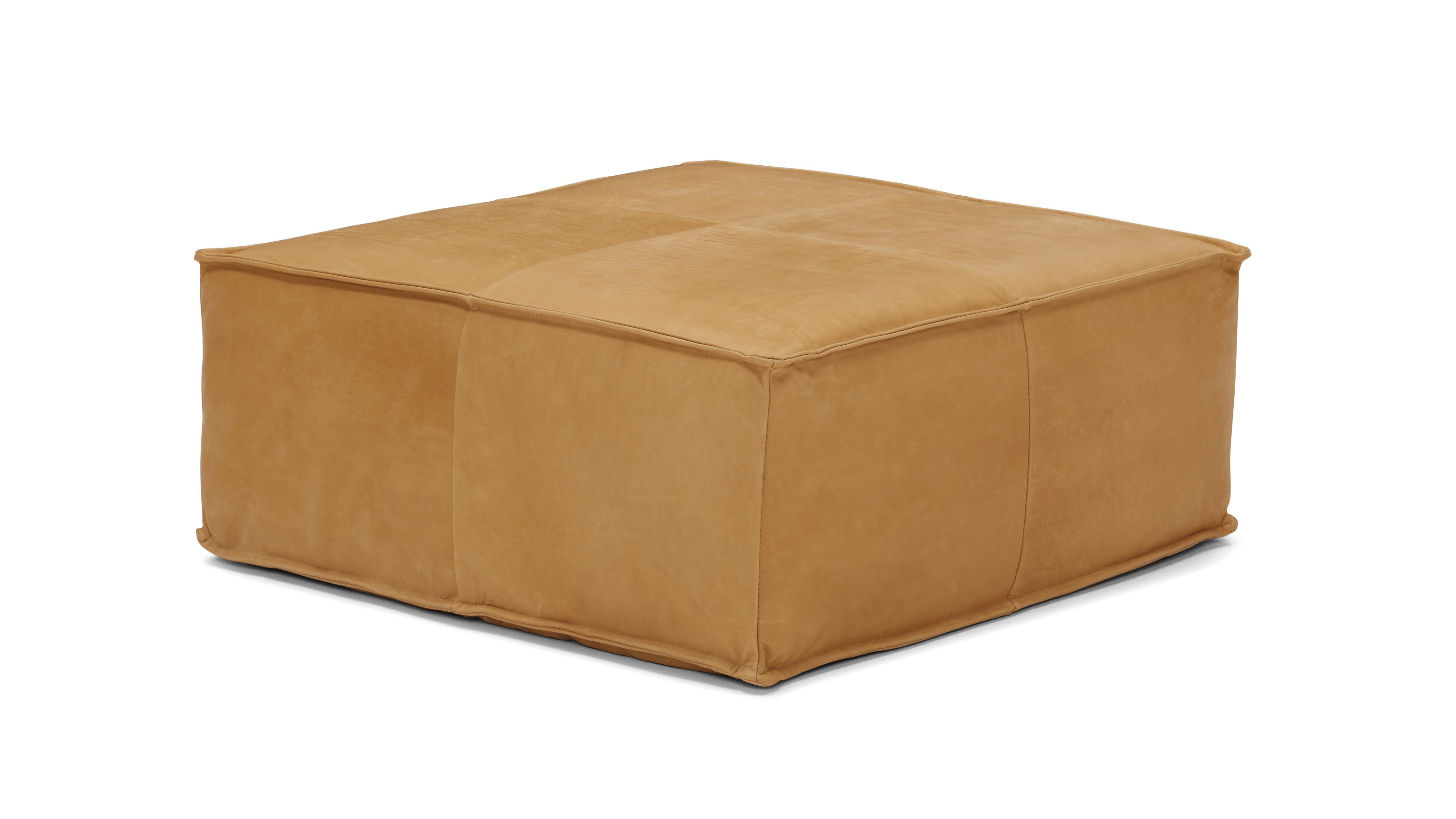Brown Lyle Mid Century Modern Leather Ottoman - Olympia Chestnut