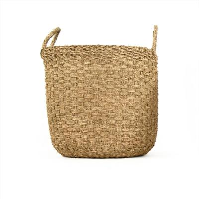 Zentique Hand Woven Cylindrical Seagrass Large Basket with Handles, Brown