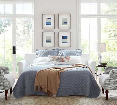 Cameron Roll Arm Upholstered Queen Sleeper Sofa with Memory Foam Mattress, Polyester Wrapped Cushions, Chenille Basketweave Pebble