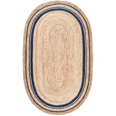 nuLOOM Rikki Braided Border Jute Navy 8 ft. x 10 ft. Oval Rug, Blue