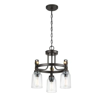 Home Decorators Collection Knollwood 3-Light Blackened Bronze Chandelier with Vintage Brass Accents and Clear Glass Shades