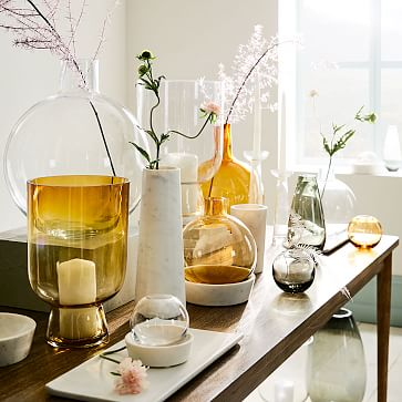 Pure Foundation Marble Vase, Black, Medium