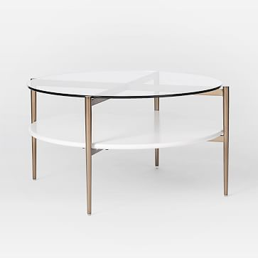 Mid-Century Art Display Round Coffee Table, Cloud
