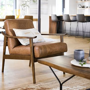 Midcentury Show Wood Chair, Poly, Vegan Leather, Saddle, Pecan