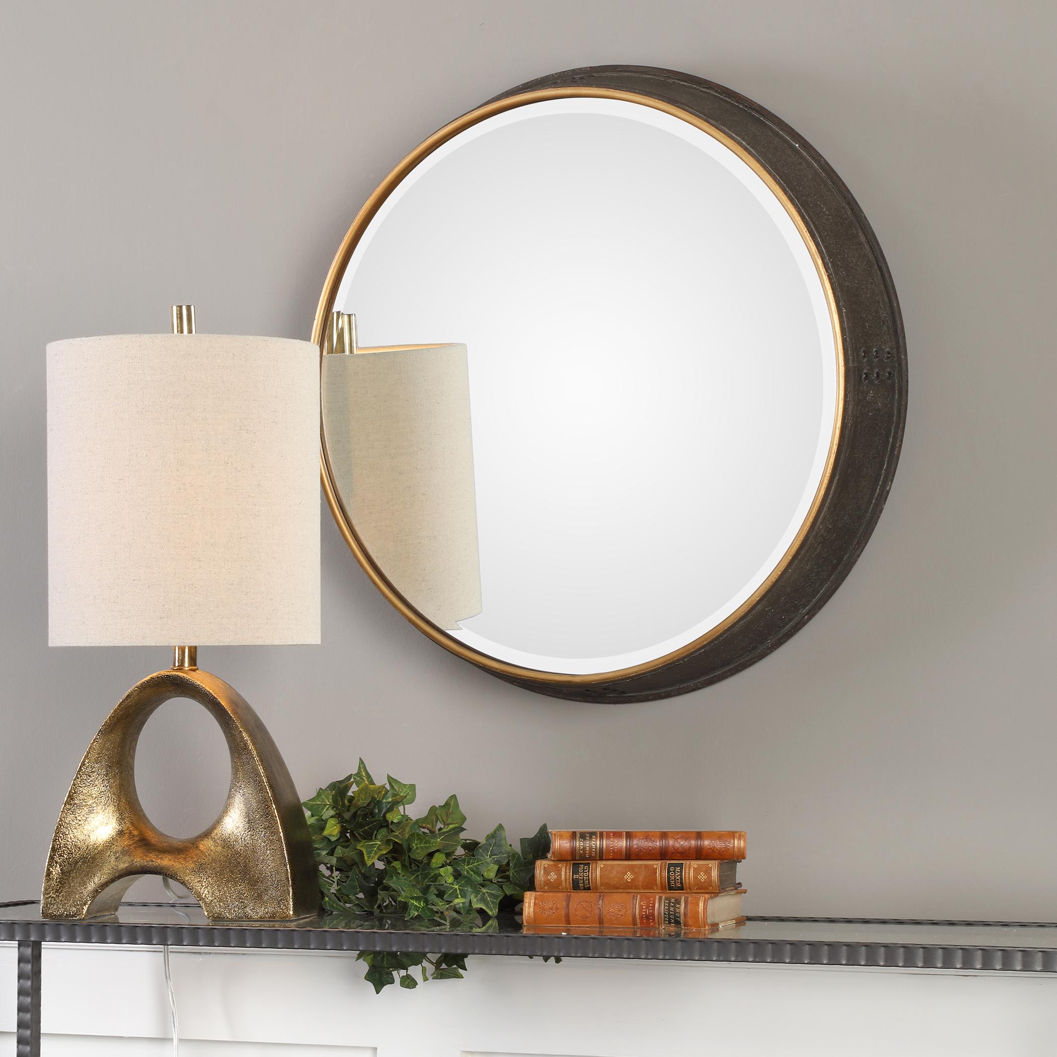 Sturdivant Antiqued Gold Round Mirror