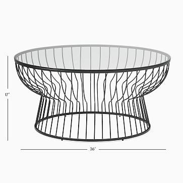 "Pillar Glass/Antique Brass Round 36"" Coffee Table"